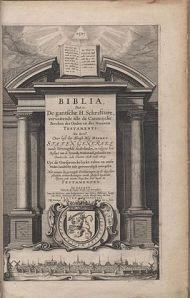 Statenvertaling titelpagina uit 1637 met stadsgezicht op Leiden